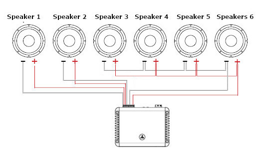 Wire A 4 Channel Amp To 6 Speakers, Wiring Speakers To Amp Diagram